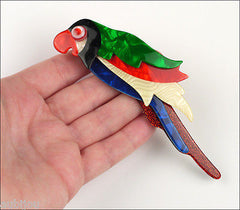 Lea Stein Kokokah The Parrot Brooch Pin Green Red Black Blue Model