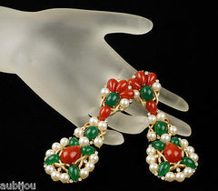 Vintage Trifari Kashmir Faux Carnelian Jade Cabochon Long Drop Dangle Earrings 1960's