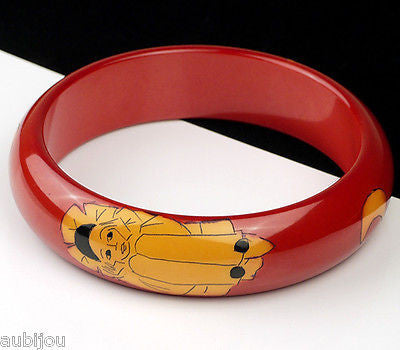 Rare Vintage Pierrot Hand Painted Dark Red French Galalith Bracelet Bangle Art Deco