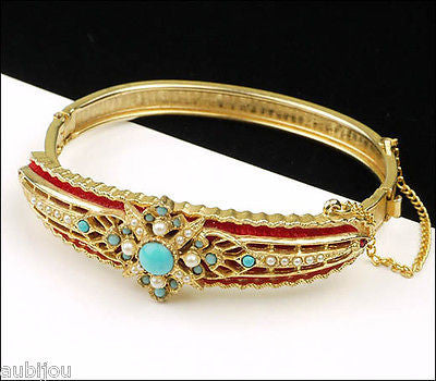 Vintage Signed Art Ornate Victorian Red Velvet Faux Turquoise Bracelet Bangle 1960's