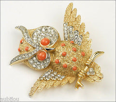 Vintage Crown Trifari Figural Faux Coral Rhinestone Owl Bird Brooch Pin Set Earrings