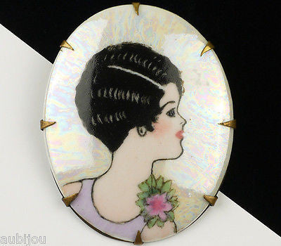 Vintage Art Deco Flapper Hand Painted Porcelain Portrait Miniature Brooch Pin