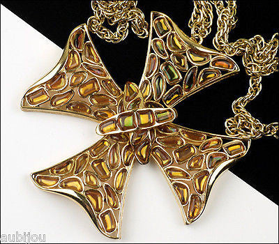 Vintage Trifari Modern Mosaic Maltese Cross Molded Glass Heraldic Pendant Necklace