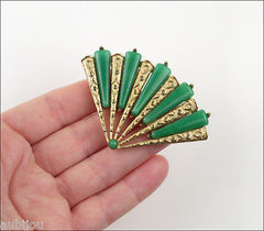 Vintage Marvella Asian Oriental Figural Faux Jade Green Peking Glass Fan Brooch Pin