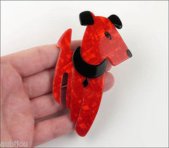 Lea Stein Ric The Airedale Terrier Dog Brooch Pin Red Black Model