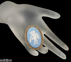 Vintage Wedgwood Gold Filled Blue Jasper Porcelain Angel Cupid Cameo Brooch Pin 1960's