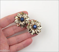 Vintage Kreisler Sterling Silver Floral Blue Frosted Glass Bracelet Brooch Pin Set
