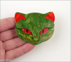 Lea Stein Bacchus The Cat Head Brooch Pin Green Red Model