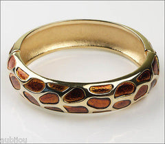 Vintage Signed Trifari Enamel Leopard Safari Animal Print Hinged Bracelet Bangle 1960's