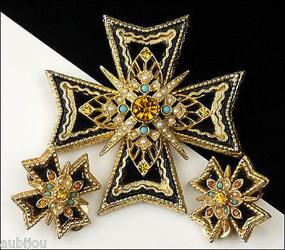 Vintage Signed Art Heraldic Black Velvet Rhinestone Maltese Cross Brooch Pin Set 1960's