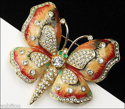 Kenneth Jay Lane KJL Figural Enamel Rhinestone Butterfly Insect Brooch Pin