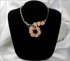 Vintage Trifari Pink Molded Glass Floral Flower Forget Me Not Necklace Choker 1950's