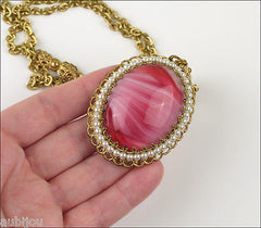 Vintage West Germany Ornate Pink Givre Art Glass Cabochon Pendant Necklace Set