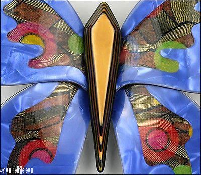 Lea Stein Elfe The Butterfly Insect Brooch Pin Blue Yellow Multicolor Gallery