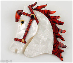 Lea Stein Butter The Horse Head Brooch Pin Pearly White Red Front