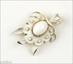 Vintage Crown Trifari Figural White Enamel Cabochon Turtle Brooch Pin 1960's