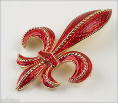 Vintage Trifari Red Enamel Heraldic Fleur De Lis Lily Brooch Pin Coat Of Arms 1960's