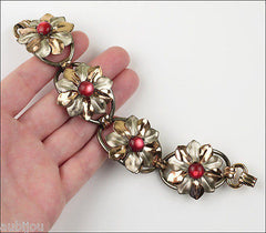 Vintage Kreisler Sterling Silver Floral Red Frosted Glass Bracelet Brooch Pin Set