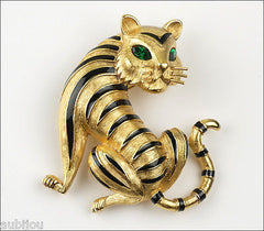 Vintage Trifari Gold Rush Ark Enamel Figural Tiger Cat Brooch Pin 1990's Animal
