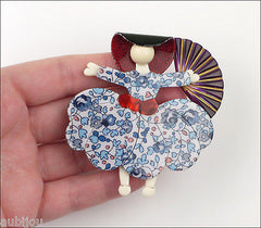 Lea Stein Ballerina Scarlett O'Hara Fan Brooch Pin Floral Blue White Purple Model