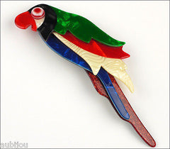 Lea Stein Kokokah The Parrot Brooch Pin Green Red Black Blue Front