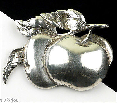 Vintage Cini Sterling Silver 3D Floral Double Apple Fruit Leaf Brooch Pin 1950's
