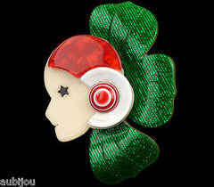 Lea Stein Corolle Art Deco Girl Petal Brooch Pin Green Red White