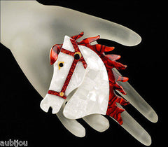 Lea Stein Butter The Horse Head Brooch Pin Pearly White Red Mannequin