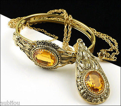 Vintage Whiting Davis Topaz Glass Rhinestone Pendant Necklace Hinged Bracelet Set