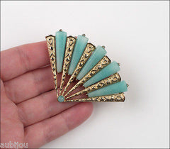 Vintage Marvella Asian Oriental Figural Light Blue Art Glass Fan Brooch Pin 1960's