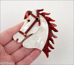 Lea Stein Butter The Horse Head Brooch Pin Pearly White Red Model