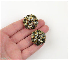 Vintage Hattie Carnegie Smoky Faceted Glass Rhinestone Clip On Earrings 1950's Jewelry