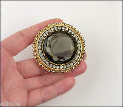 Vintage Large Signed Capri Openback Black Diamond Smoky Glass Rhinestone Brooch Pin