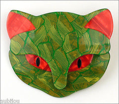 Lea Stein Bacchus The Cat Head Brooch Pin Green Red Front