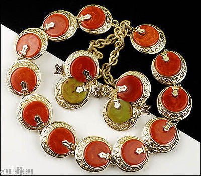 Vintage Signed Art Oriental Orange Red Rust Bakelite Necklace Choker Set Earrings