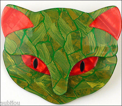 Lea Stein Bacchus The Cat Head Brooch Pin Green Red Gallery