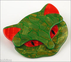 Lea Stein Bacchus The Cat Head Brooch Pin Green Red Side