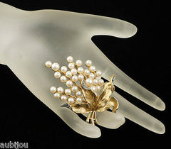 Vintage Trifari Floral Leaf Smoky Rhinestone Faux Pearl Brooch Pin Gems Of The Sea