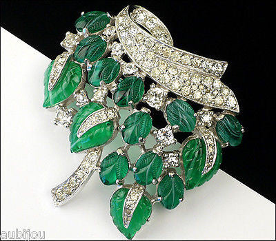 Vintage Jomaz Fruit Salad Emerald Green Leaf Molded Glass Rhinestone Brooch Pin