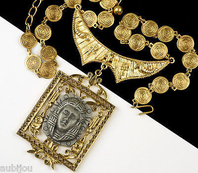 Vintage Signed Art Egyptian Revival King Tut Pharaoh Pendant Necklace Medallion 1970's