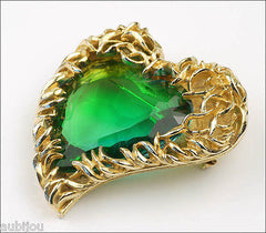 Vintage Signed Art Openback Green Art Glass Rhinestone Heart Leaf Brooch Pin 1960's