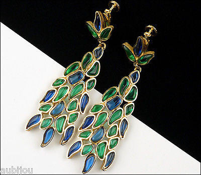Vintage Marvella Molded Glass Mosaic Blue Green Long Drop Chandelier Earrings 1960's
