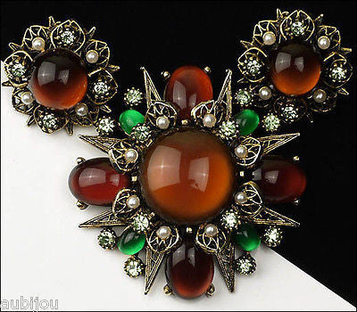 Vintage Signed Art Modeart Amber Rootbeer Glass Cabochon Rhinestone Brooch Pin Set