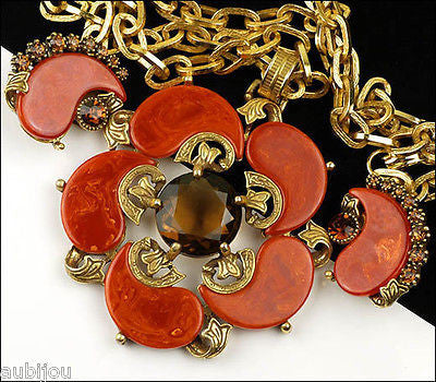 Vintage Signed Art Orange Rust Bakelite Smoked Topaz Rhinestone Pendant Set 1960's