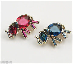 Vintage Trifari Fuchsia Blue Faceted Glass Elephant Pair Brooch Pin Philippe 1940's