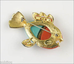 Vintage Hattie Carnegie Faux Coral Turquoise Lucite Figural Piranha Fish Brooch Pin