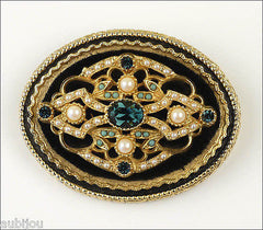 Vintage Signed Art Ornate Victorian Black Velvet Montana Blue Rhinestone Brooch Pin