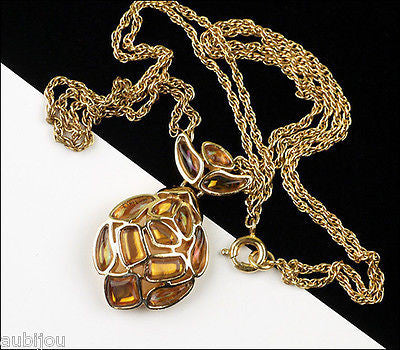 Vintage Trifari Modern Mosaic Amber Molded Glass Pendant Necklace Delicate 1960's