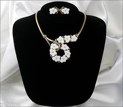 Vintage Trifari White Molded Glass Floral Forget Me Not Necklace Earrings Set 1950's