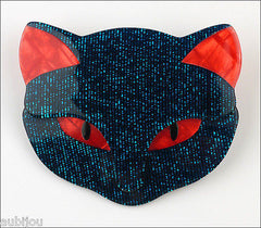Lea Stein Bacchus The Cat Head Brooch Pin Dark Blue Red Front